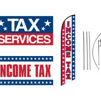 Tax Service Feather Flag & Vinyl Banners – Pack of 3 with Pre-Curved Poles & Ground Spike
