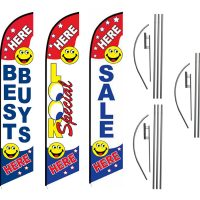 3 Pack Look Best Buys Sale Feather Flag Kits (3 Flags + 3 Pole Kits + 3 Ground Spikes)