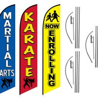 3 Pack Martial Arts Now Enrolling Karate Feather Flag Kits (3 Flags + 3 Pole Kits + 3 Ground Spikes)