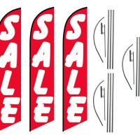 3 Pack Sale Red Feather Flag Kits (3 Flags + 3 Pole Kits + 3 Ground Spikes)