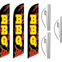 3 Pack Bbq Feather Flag Kits (3 Flags + 3 Pole Kits + 3 Ground Spikes)