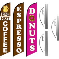 3 Pack Coffee Espresso Donuts Feather Flag Kits (3 Flags + 3 Pole Kits + 3 Ground Spikes)