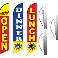 3 Pack Lunch Dinner Now Open Special Feather Flag Kits (3 Flags + 3 Pole Kits + 3 Ground Spikes)