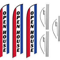 3 Pack Open House Feather Flag Kits (3 Flags + 3 Pole Kits + 3 Ground Spikes)