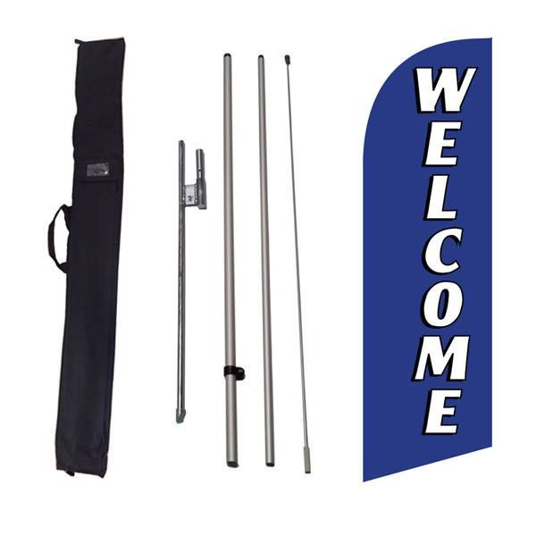 Outdoor decorative blue Welcome feather flag to use at your home or business.