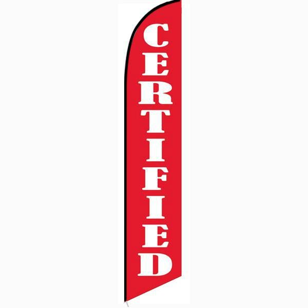 Certified red banner flag