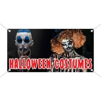 Halloween Costumes Vinyl Banner With Scary Clowns