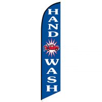 Hand wash blue feather flag