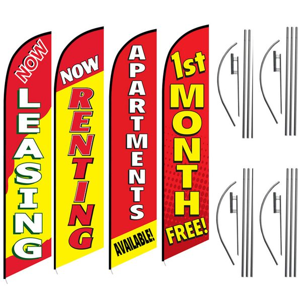 Now-Leasing-Now-Renting-Apartments-Availble-1st-Month-Free-Aparment-Rental-Flag-Package