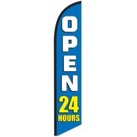 Open 24 Hours Blue Feather Flag Banner NSFB-5823