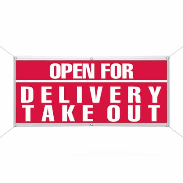 Open for Delivery Take Out Banner
