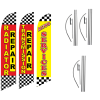 Auto Feather Flag Package – Pack of 3 with Pre-Curved Poles & Ground Spike