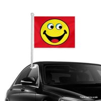 red Smiley Window Clip-on Flags