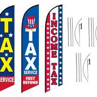 Tax Service Feather Flag – Pack of 3 with Pre-Curved Poles & Ground Spike