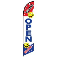 Welcome Open Feather Flag