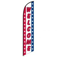 Welcome Patriotic Feather Flag