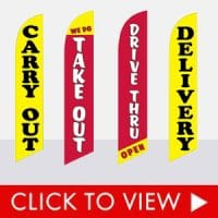Take Out, Carry Out Feather Flags In-Stock