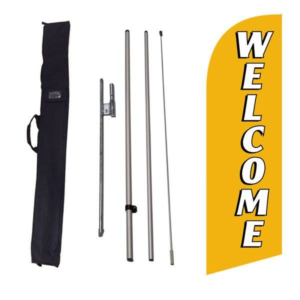 Outdoor decorative gold Welcome feather flag to use at your business