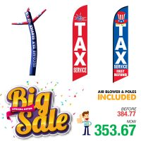 Income Tax Package – 1 Tube Man with Blower & 2 Feather Flags Kits with Flexible Poles