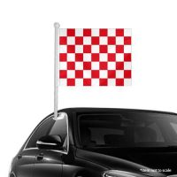 Red White Checkered Window Clip-on Flag